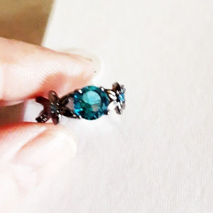Edgy + Sexy! GunMetal Black Aquamarine Ring S7